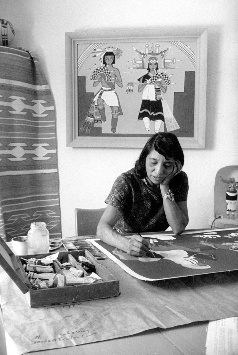 Santa Clara Pueblo artist Pablita Velarde working at her home studio, in Albuquerque, in the 1960s, New Mexico Magazine