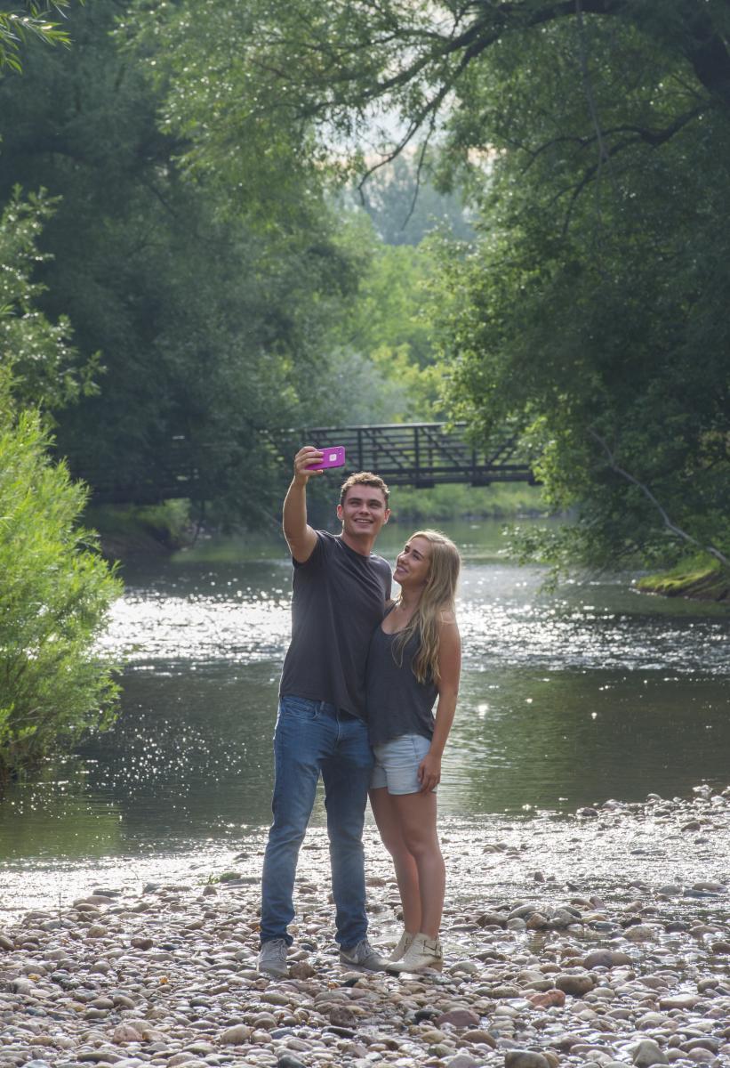 Poudre River Selfie with Bridge