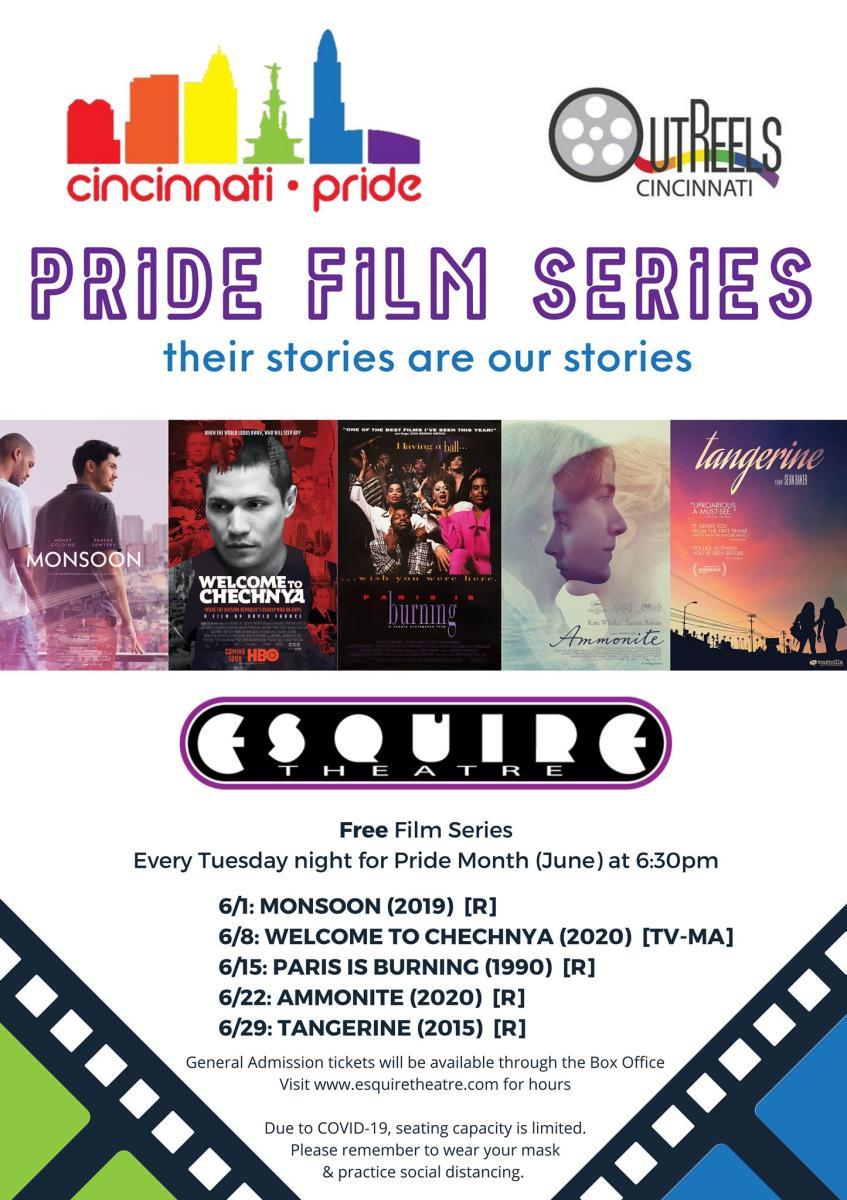 A poster for the Cincinnati Pride Film Series in June 2021