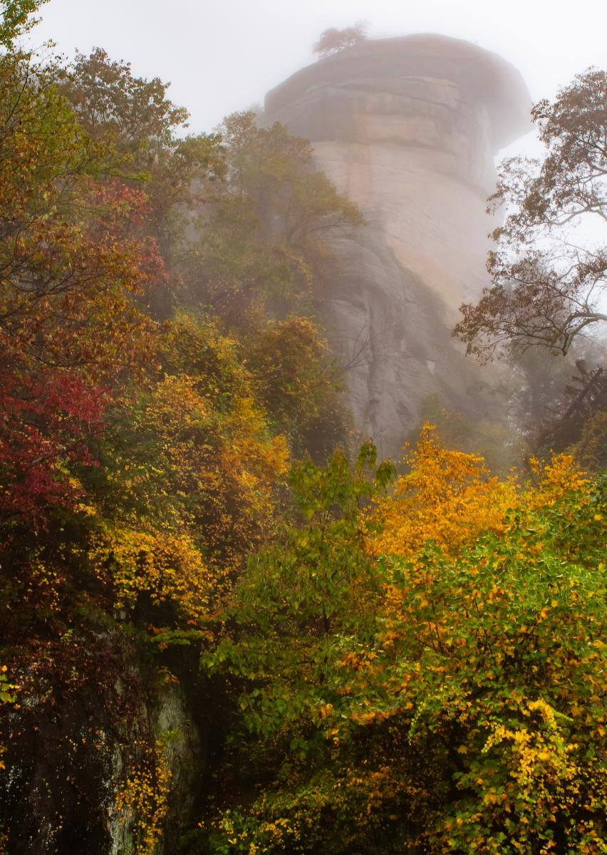Chimney Rock in the fog behind a sea of fall color