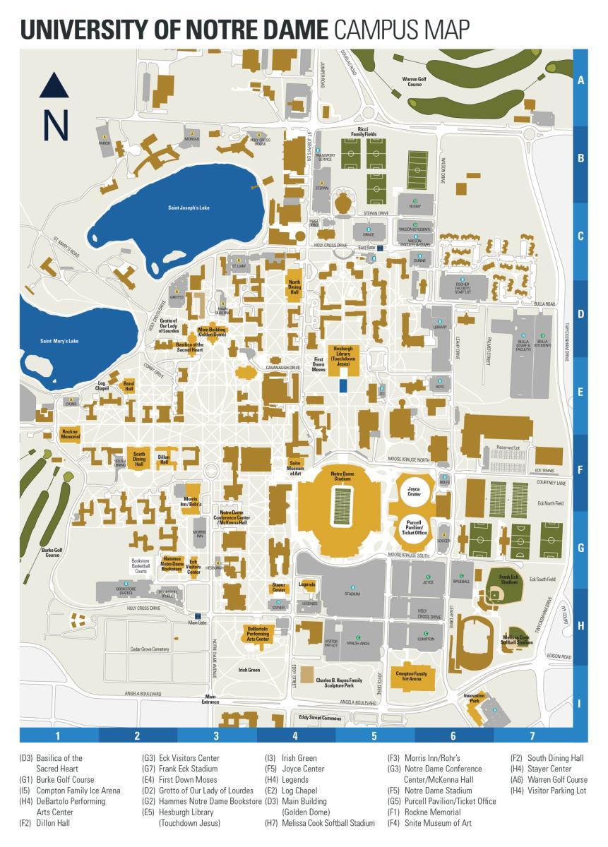 Notre Dame campus map