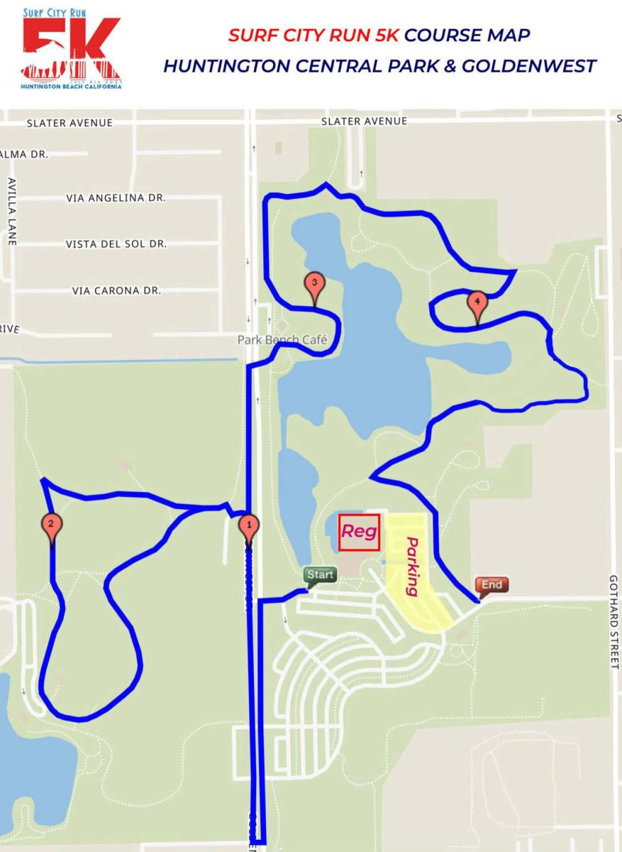 5K Run Map in Huntington Beach for the Fourth of July