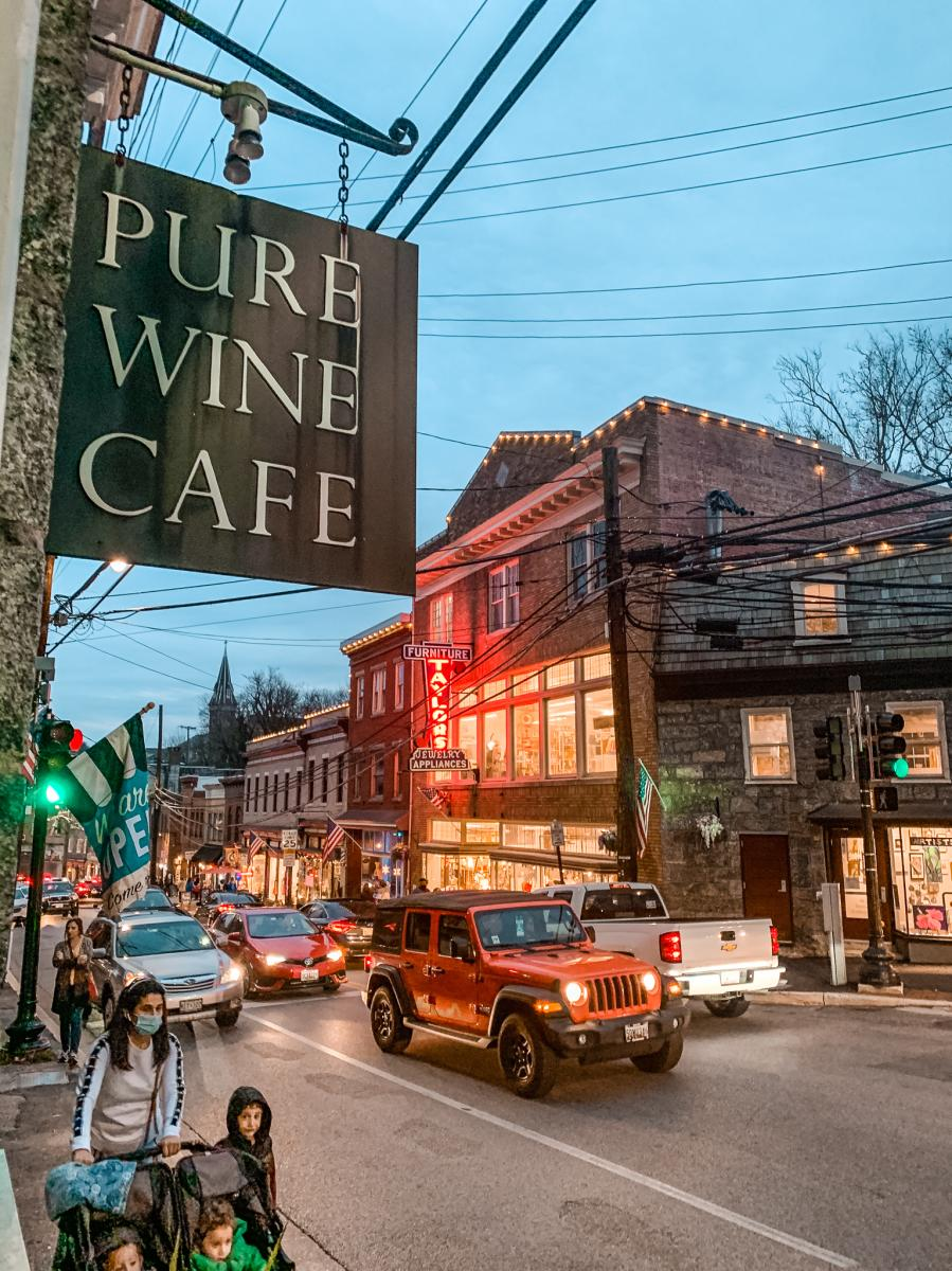 Historic Ellicott City Streets at night with view of the Pure Wine Cafe.
