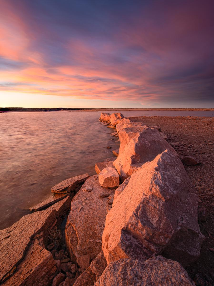 Unhidden Point, Santa Rosa Lake State Park, Photograph by Timothy Baca, New Mexico Magazine