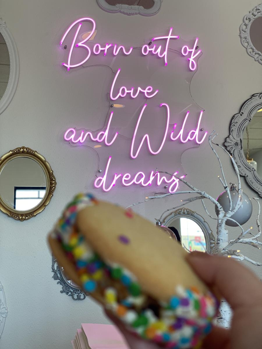 sachi cookie sandwich against born out of love and wild dreams neon sign
