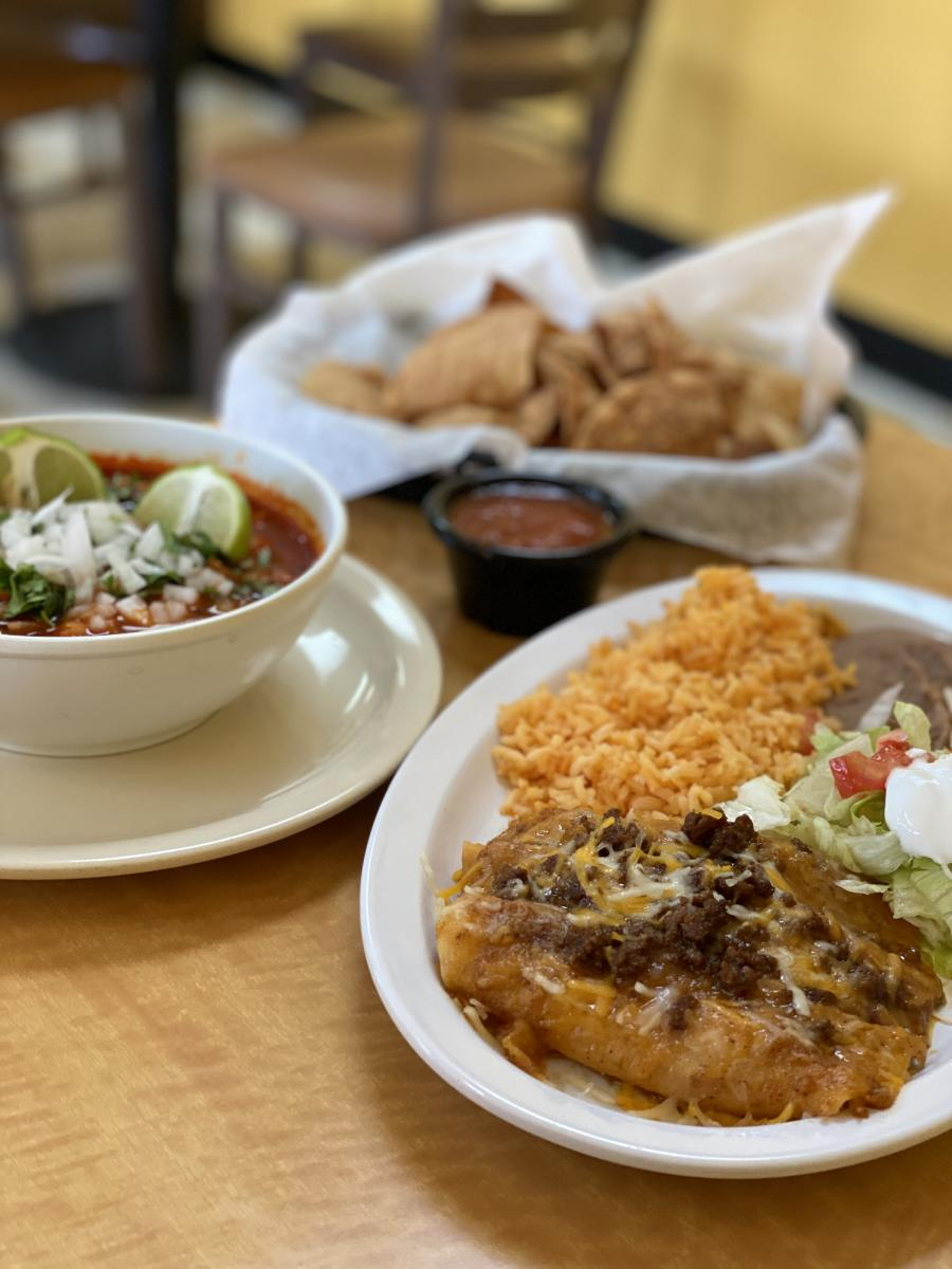 Lineup of favorites from Patty's Mexican Restaurant includes soup and enchiladas with rice & beans.