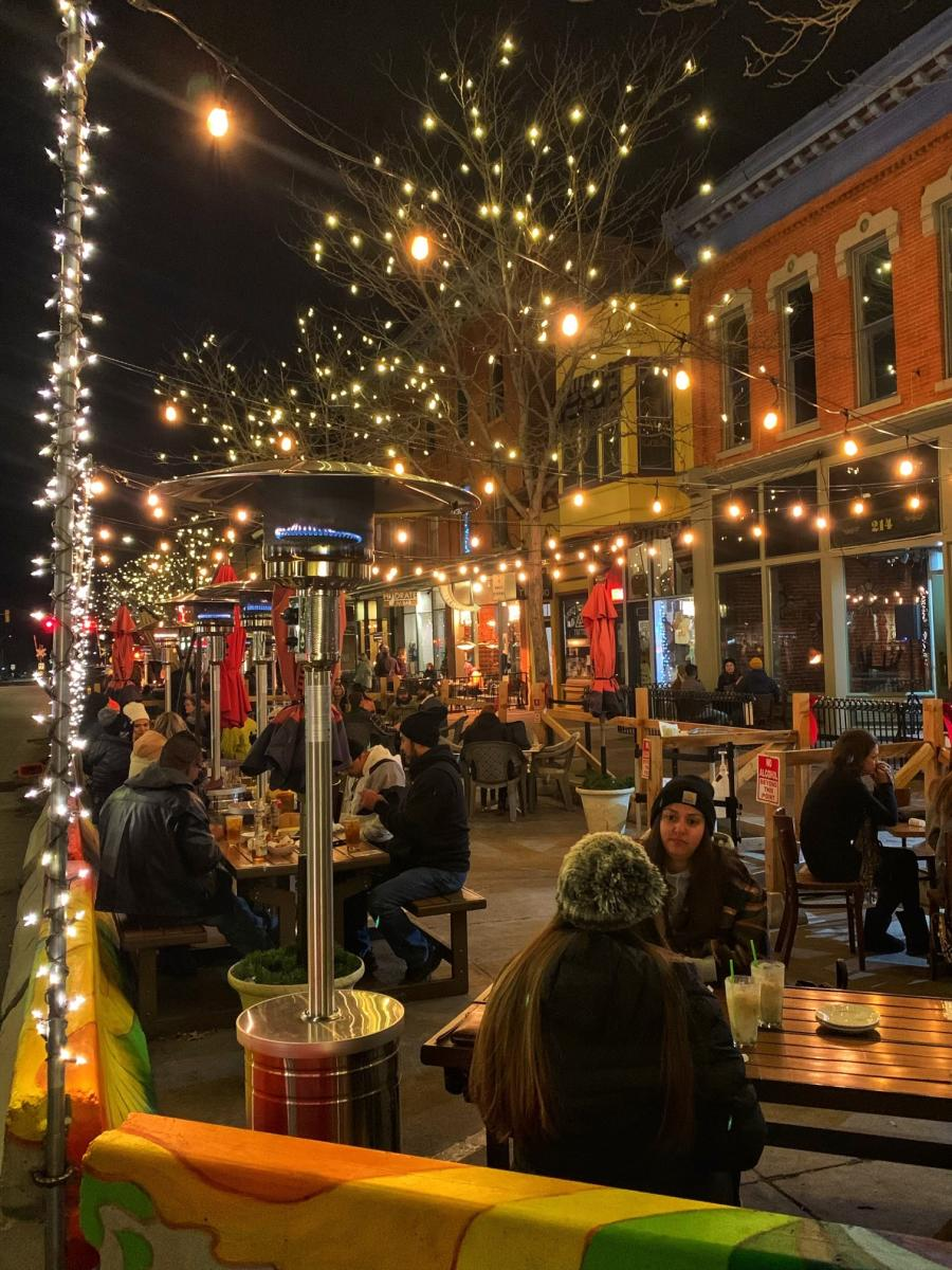 Outdoor patio dining winter old town