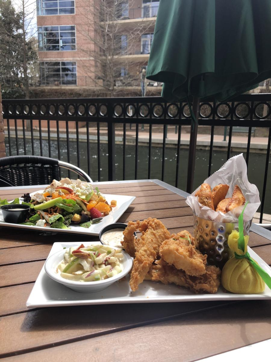 Fish & Chips and the Signature Salad from The Goose's Acre