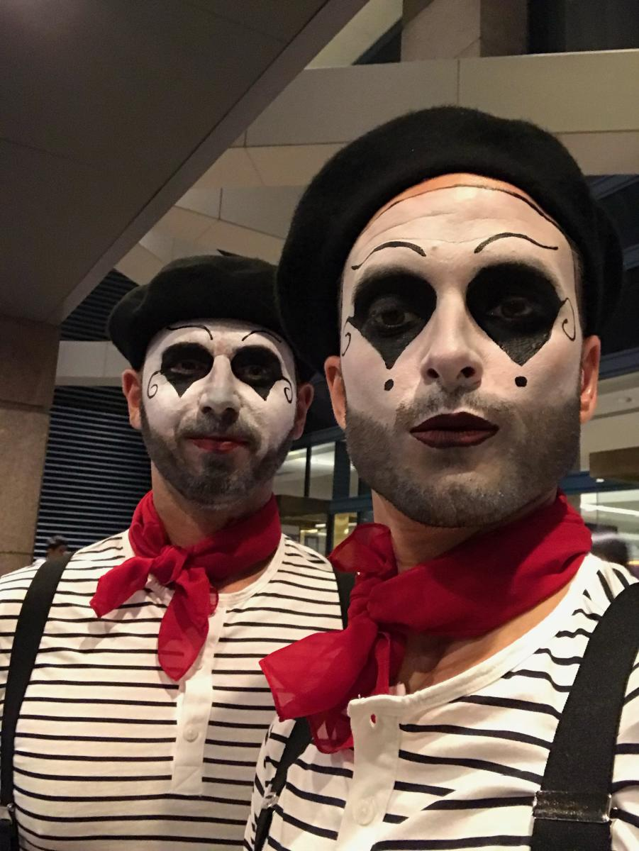 Two men dressed up as mimes for Halloween