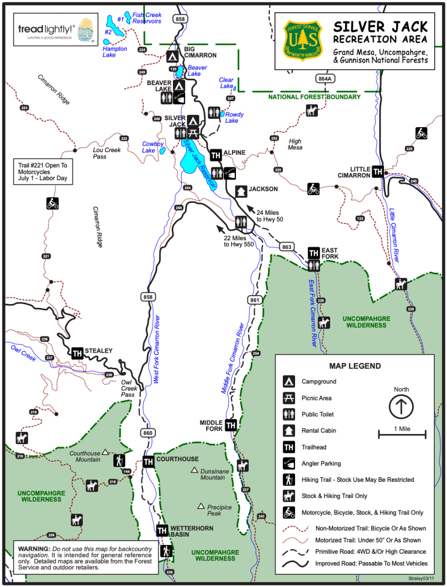 Map of Silver Jack Recreation Area provided by the Forest Service