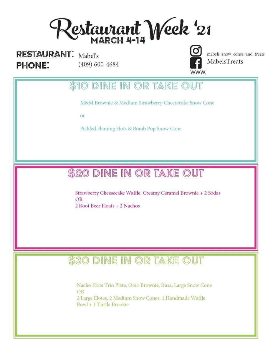 mabels menu
