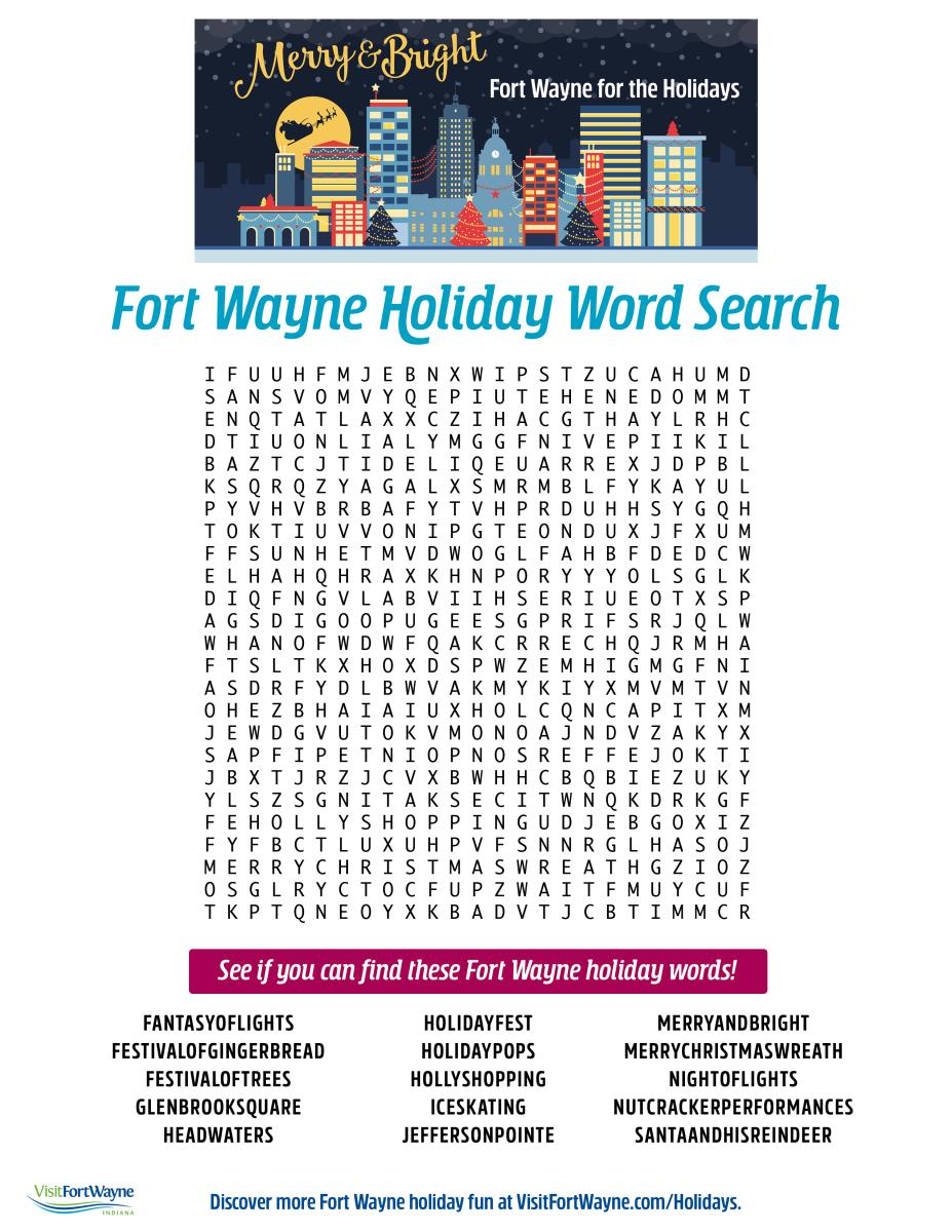 Fort Wayne Holiday Word Search