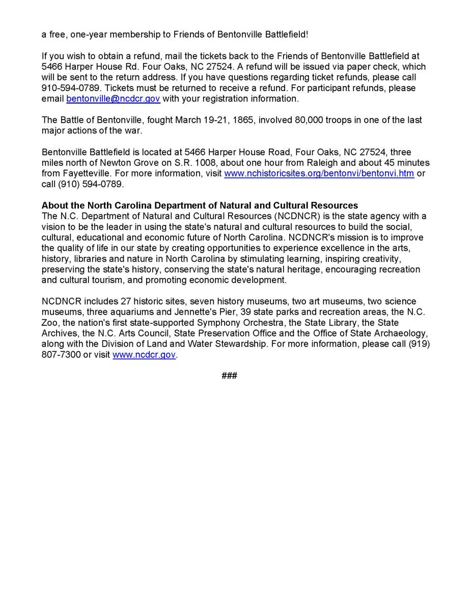 Bentonville 155th Reenactment Cancellation press release