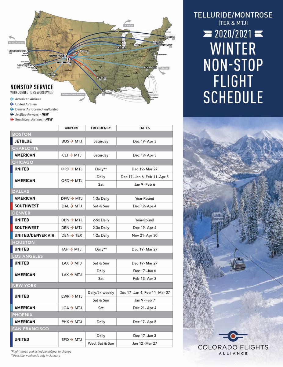 Winter Flight Schedule for Montrose Regional Airport