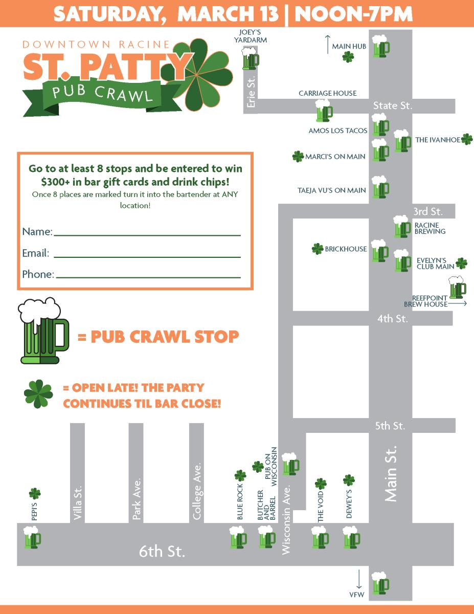 St Patty Pub Crawl Map