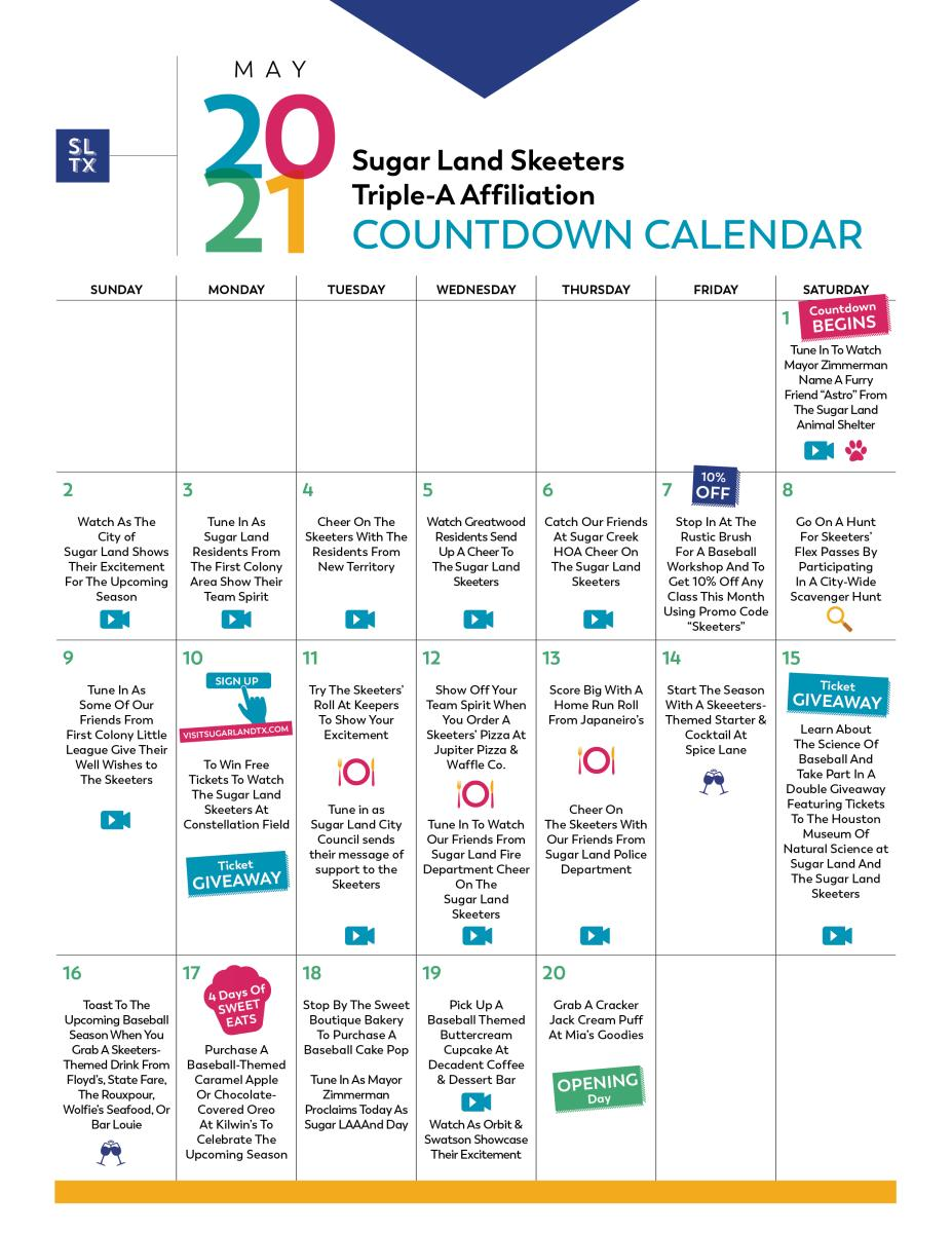 Sugar Land Skeeters 2021 season events and promotions calendar.