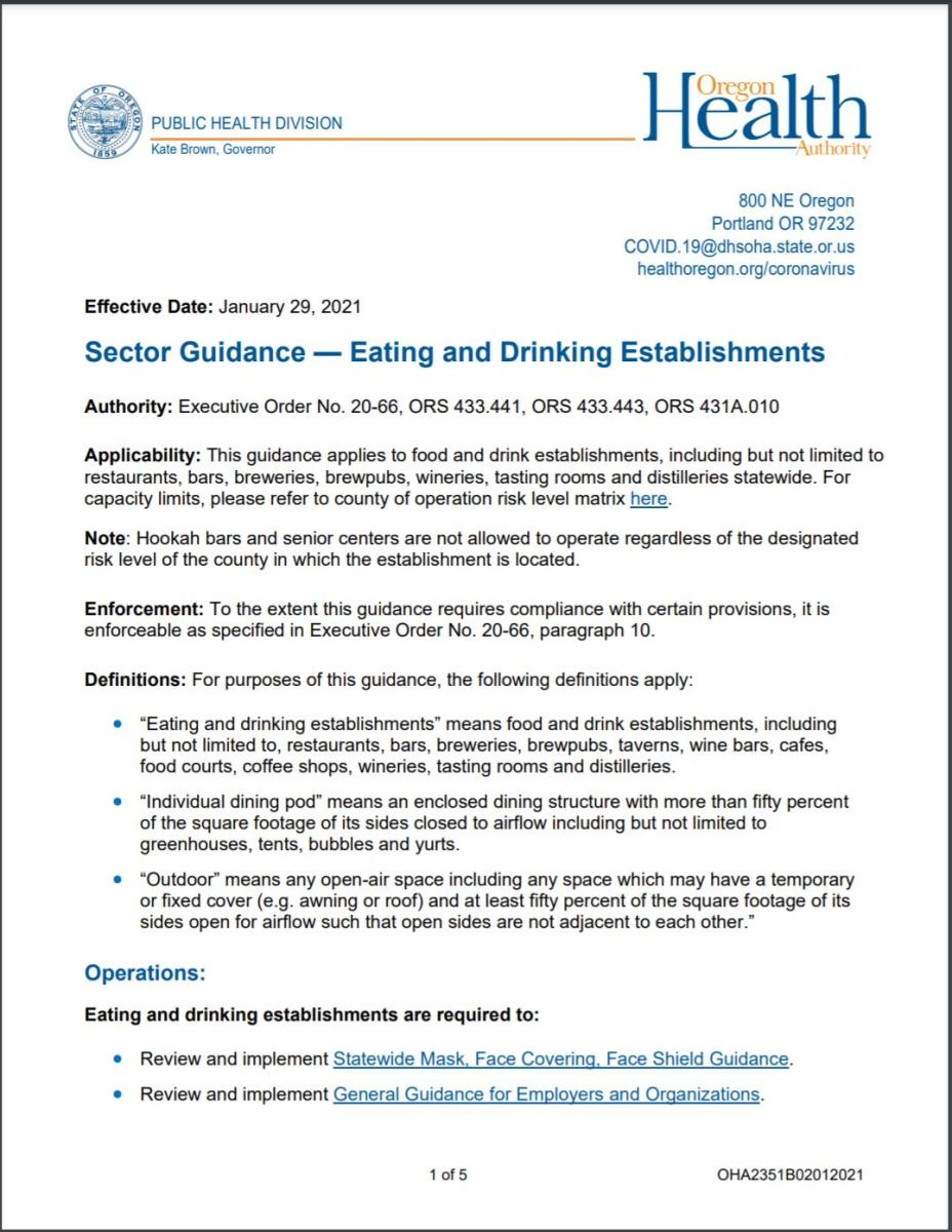 Updated Eating and Drinking Sector Guidance