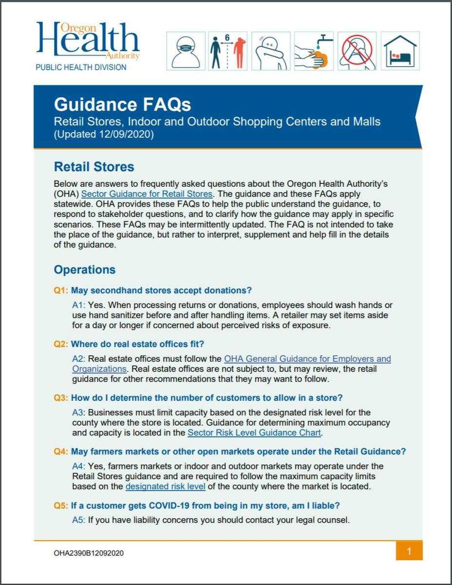 Retail Sector Guidance FAQs