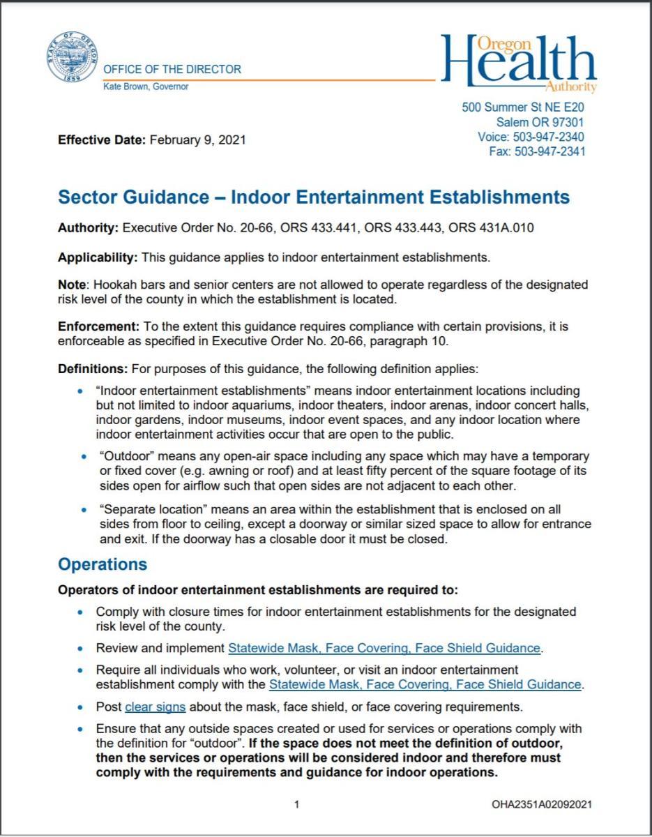 Updated Indoor entertainment guidance 2_9_21