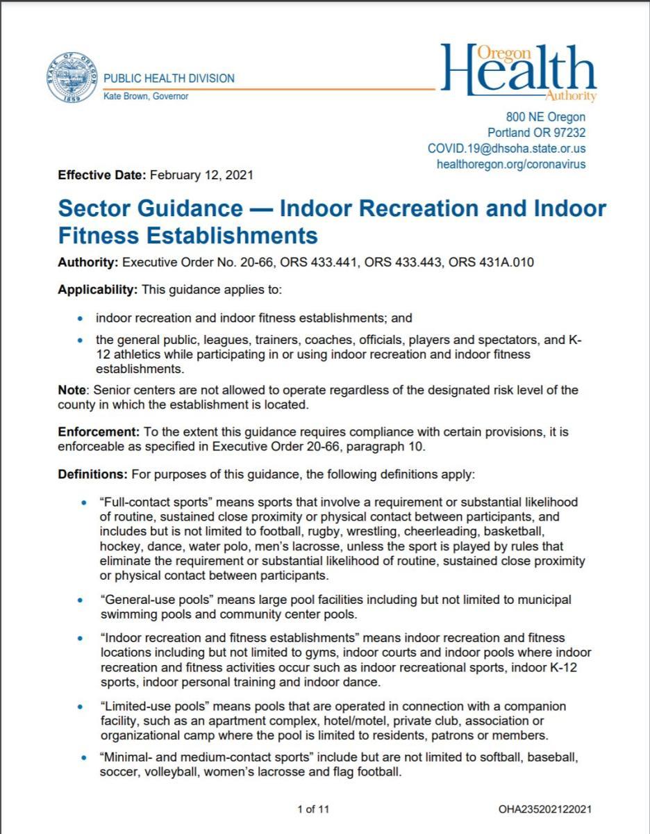 Updated Sector Guidance Indoor Rec_Fitness 1_12_21