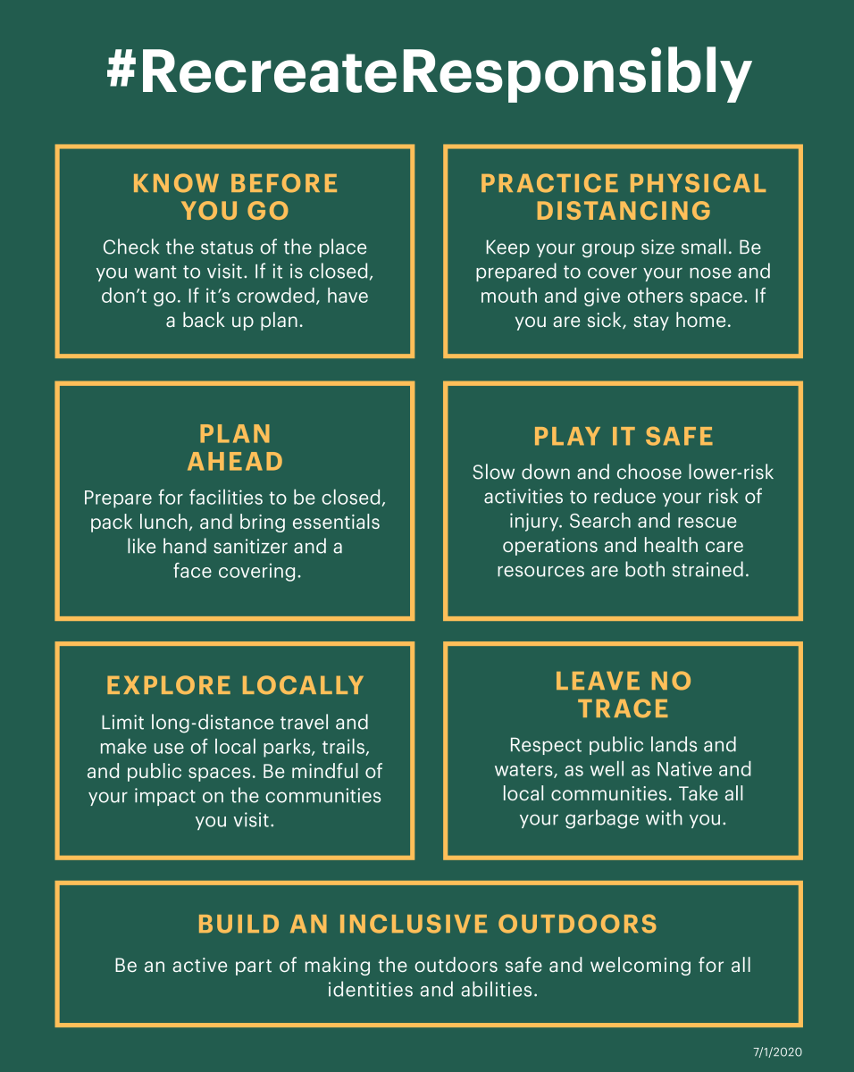 Recreate Responsibly Graphic: Know before you go, practice physical distancing, plan ahead, play it safe, explore locally, leave no trace, build an inclusive outdoors.