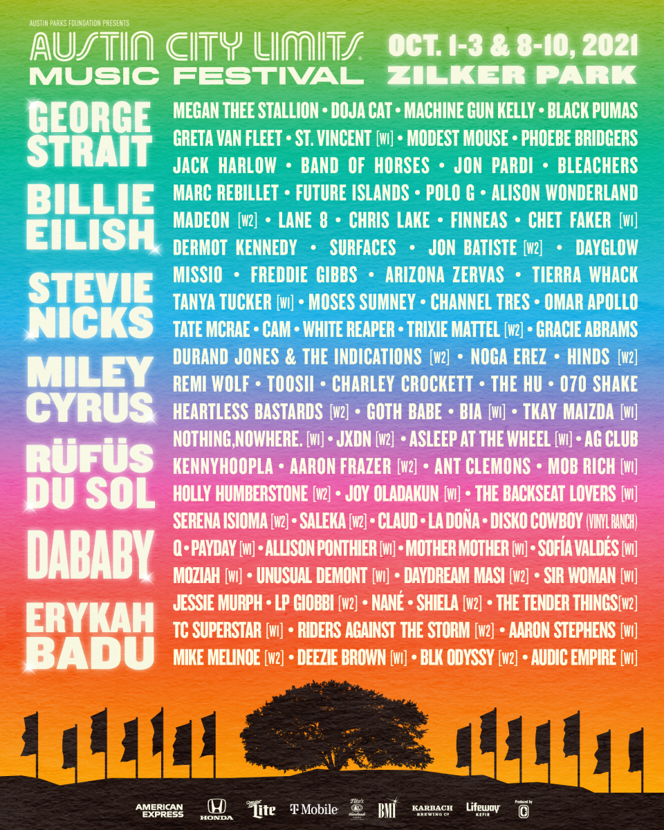ACL Fest October 2021 Lineup Poster see website for artists