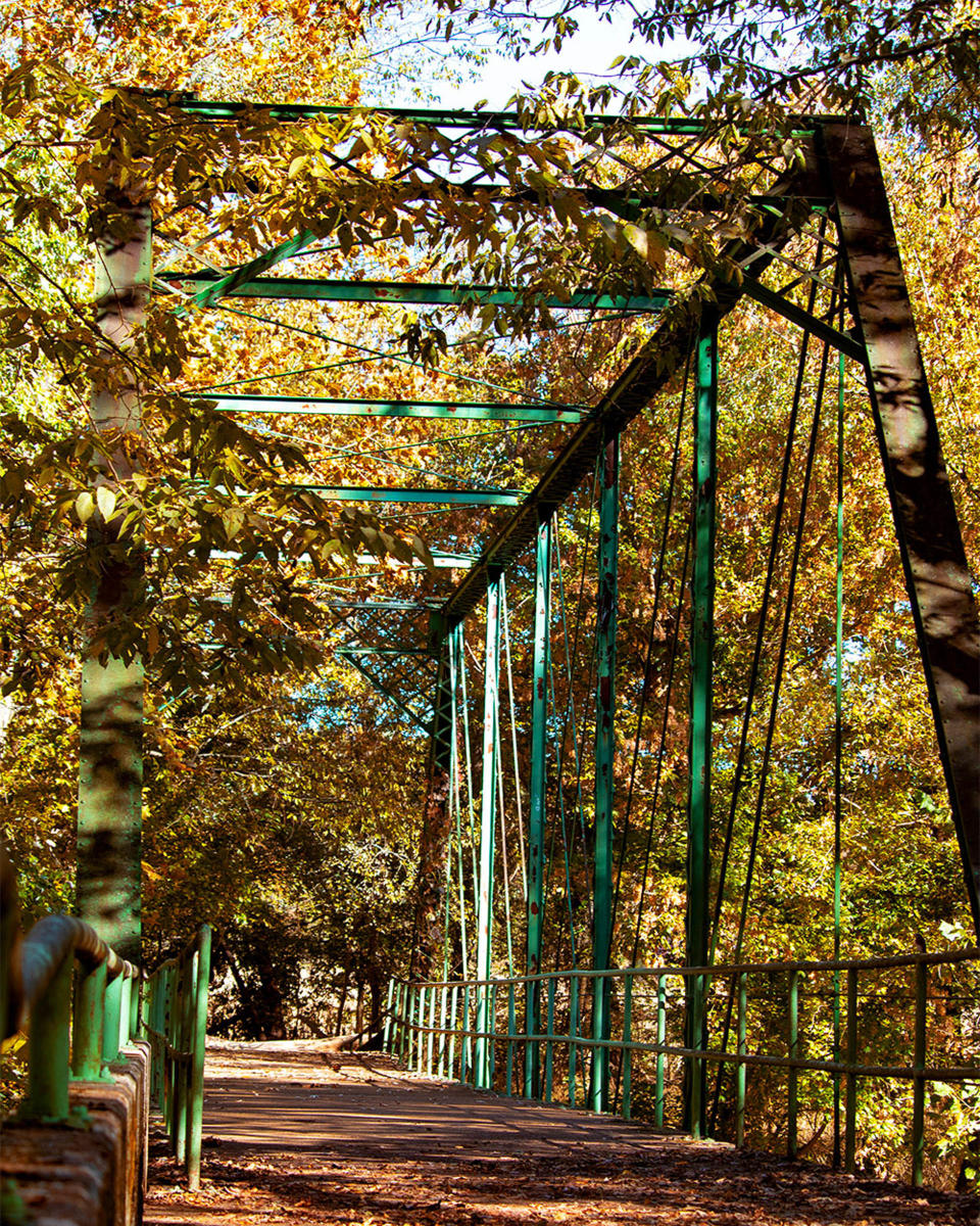 a historic bridge surrounded by fall foliage