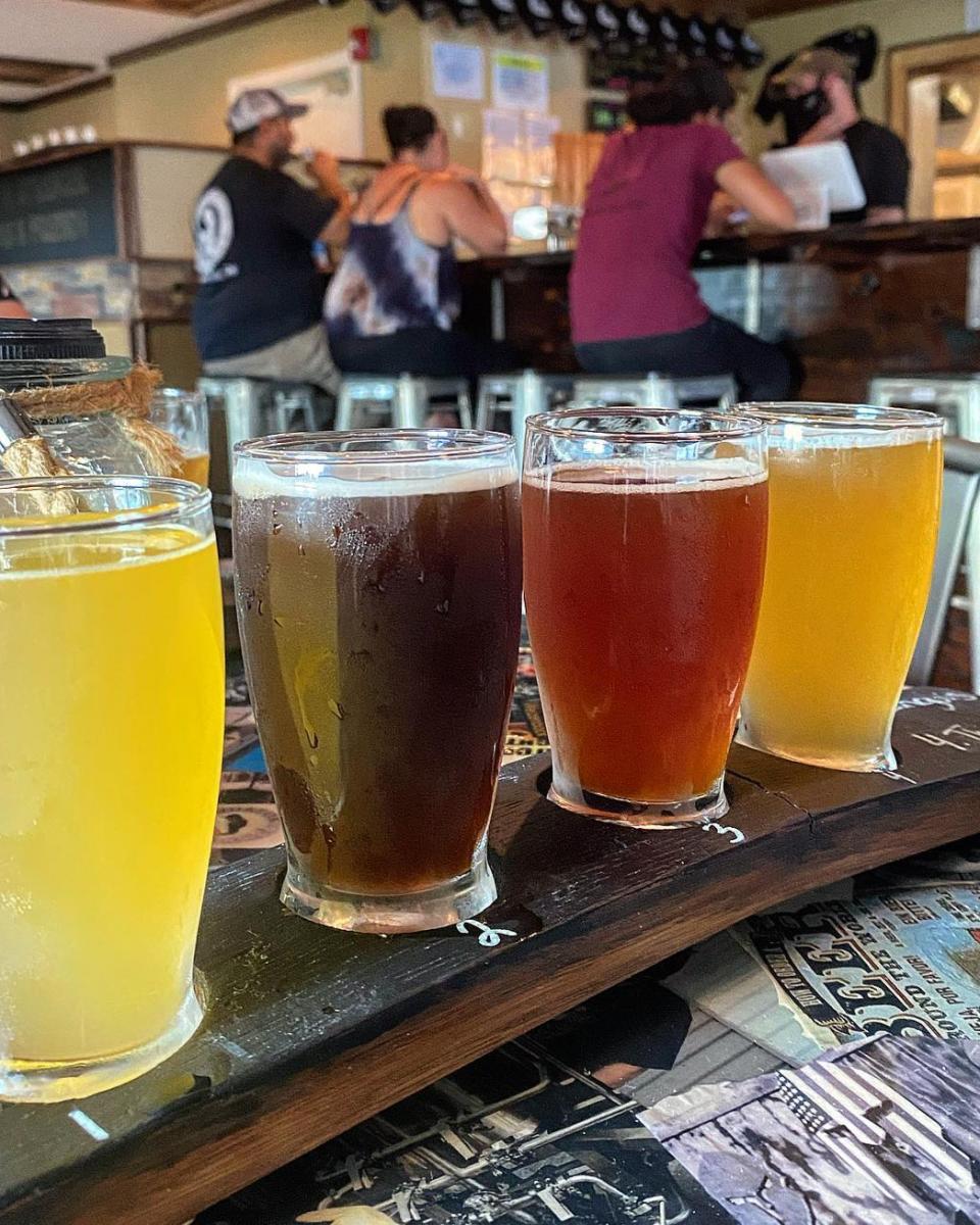 beer flight in a pub