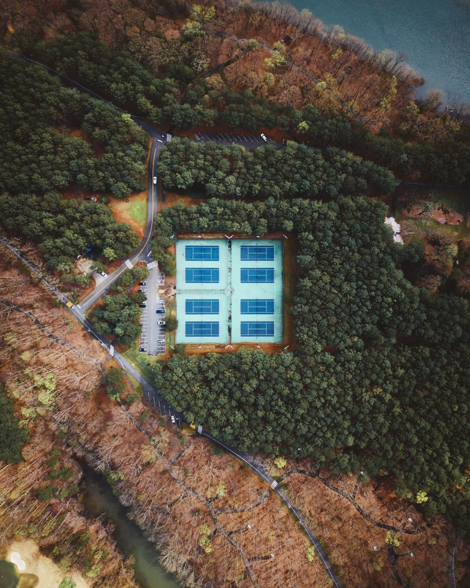 Drone top down of the tennis courts at Jetton Park