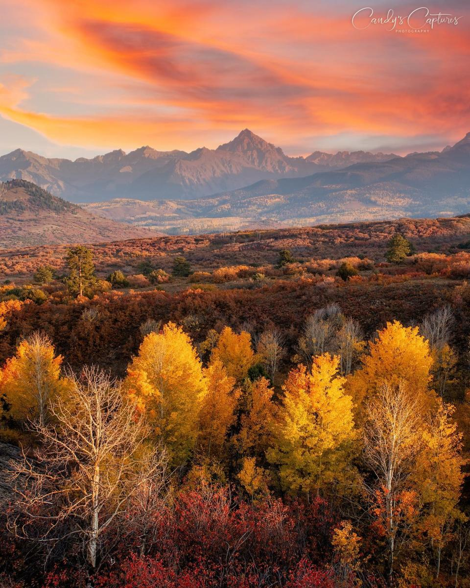Mt. Sneffels along the Dallas Divide in the fall at sunset
