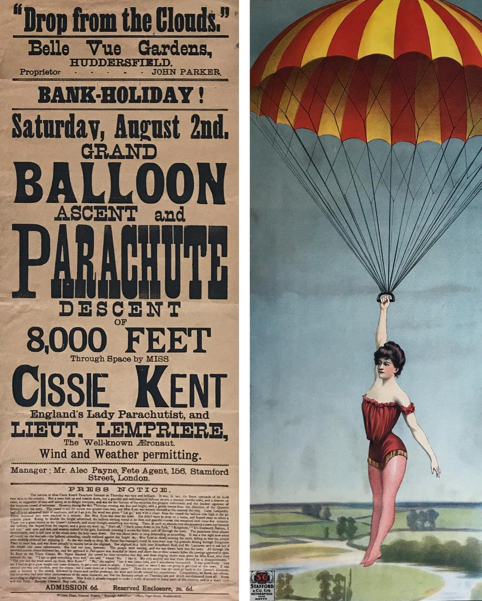 Cissie Kent parachutes from a balloon, In Their Words: Stories by Women on the Ground and in the Air, the Anderson-Abruzzo Albuquerque International Balloon Museum