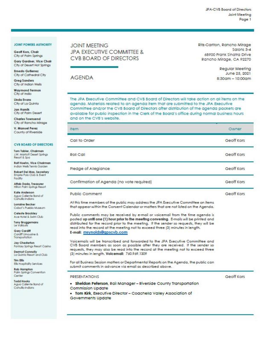 June 2021 Agenda & Board Packet