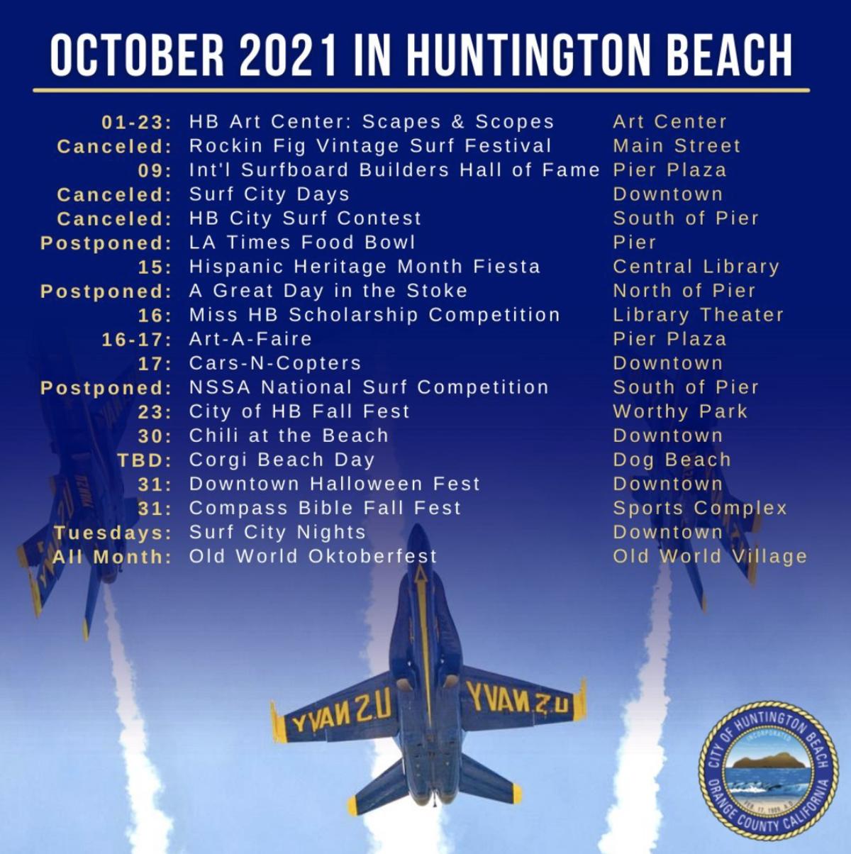 October Event Calendar in Huntington Beach