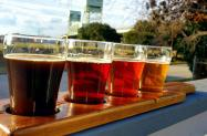 Tasting board of beer