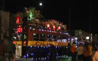 A school bus in lights for the Athens, GA restaurant, Cali-n-Tito's