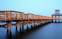 Gazebo and boardwalk over water