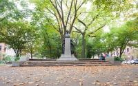 The Patrick Andrew Collins statue on the Commonwealth Avenue Mall