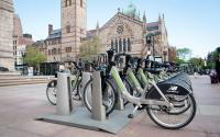 Hubway Bikes available outside the Public Library in Copley Square