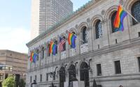 Boston Public Library with rainbow flags