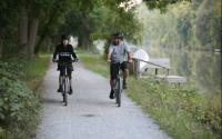 Bike riding next to canal