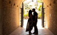 Couple in a winery tunnel
