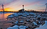 Keeper of the Plains Winter Sunset Wichita