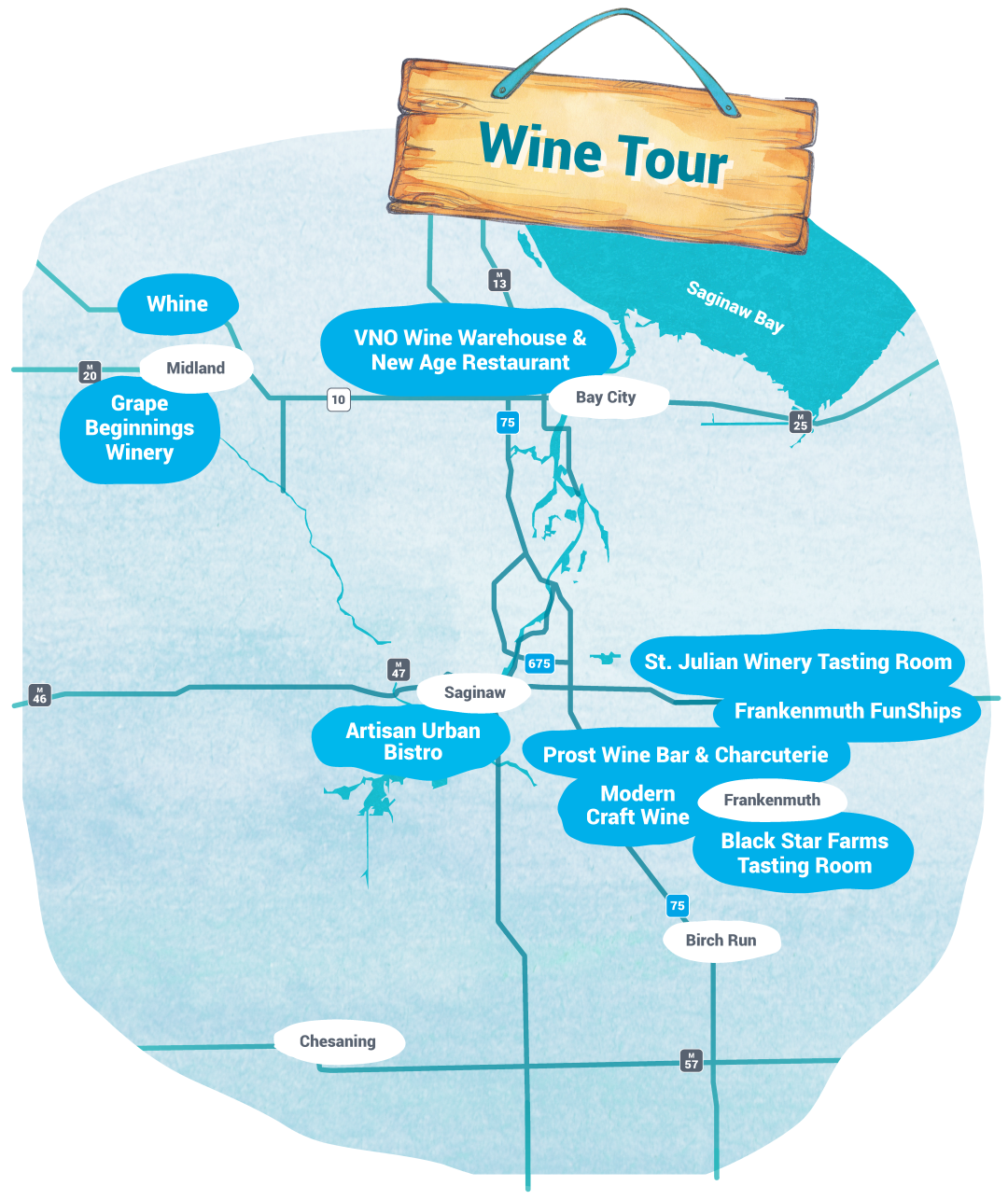 Self-Guided Tours - Wine Tour Map