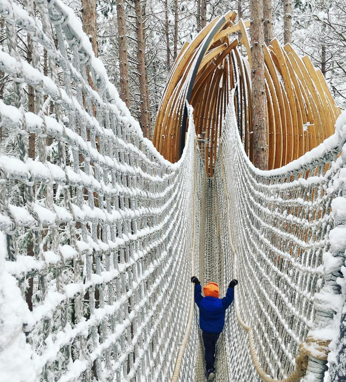 Child crossing a snow-covered cargo net bridge to a giant wooden pod along the Canopy Walk at Whiting Forest of Dow Gardens in Midland