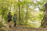 Couple with hiking gear along the Appalachian Trail
