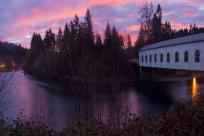 Goodpasture Covered Bridge, McKenzie River - Cascades, Dawn by David Putzier