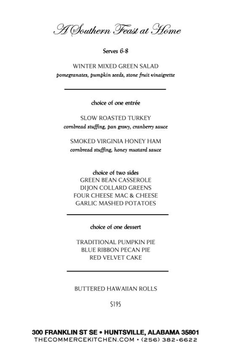 Commerce Kitchen Menu Thanksgiving