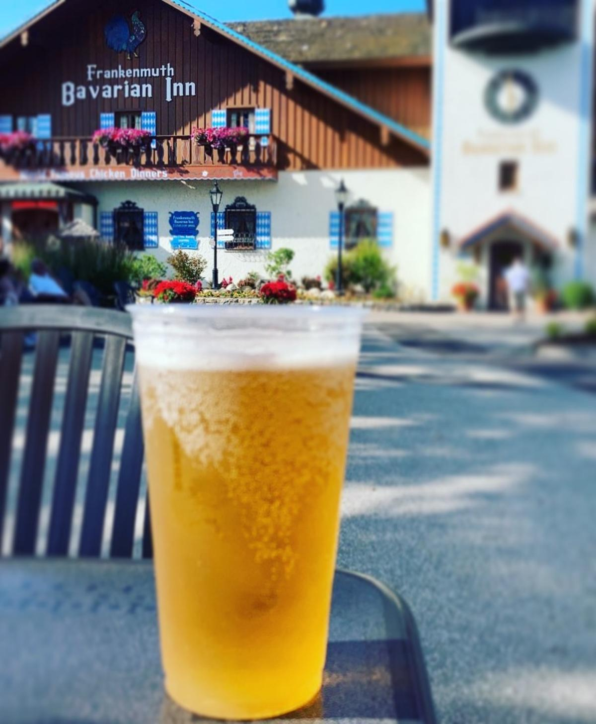 Cold glass of beer on the patio in front of Bavarian Inn Restaurant in Frankenmuth