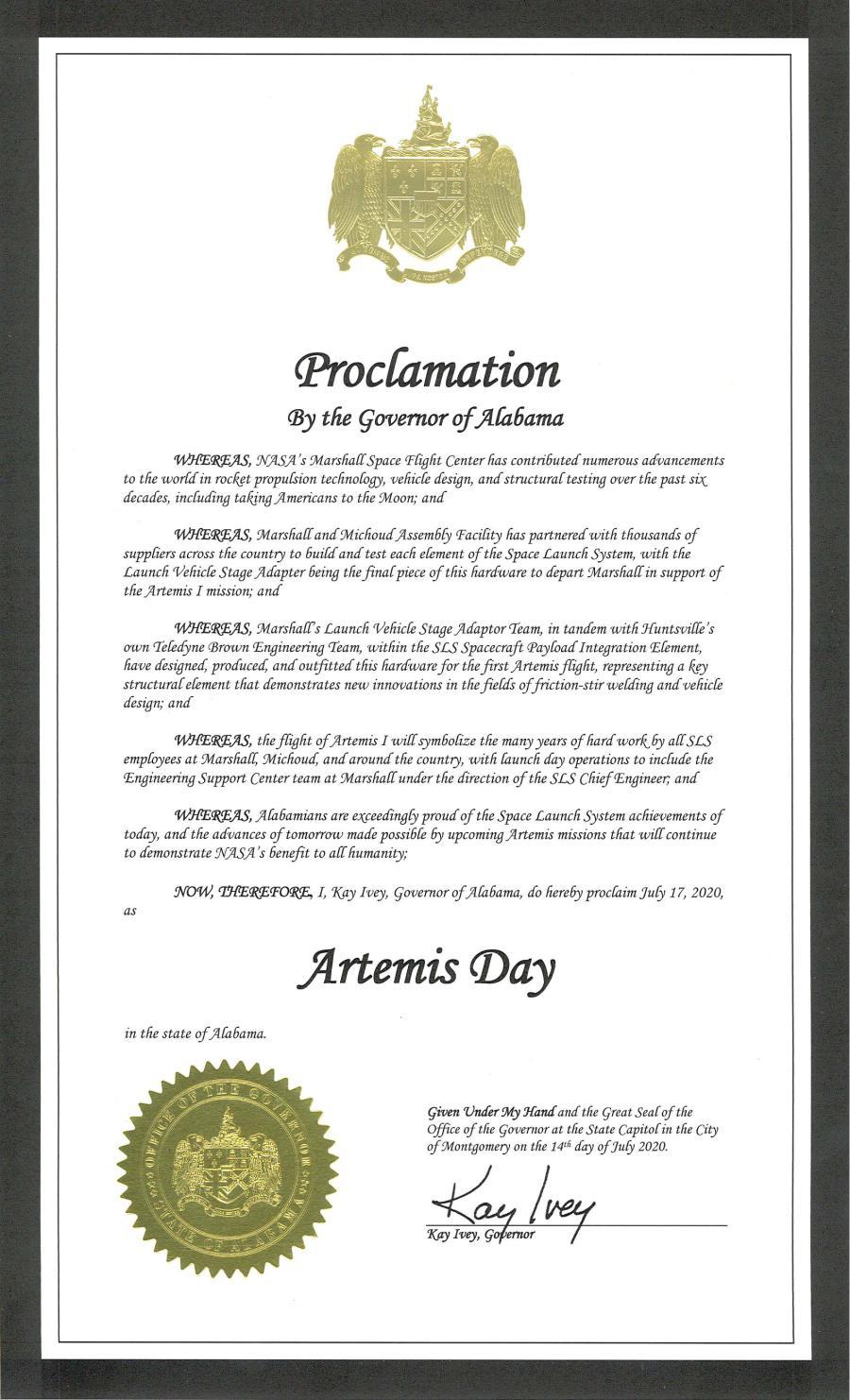 Artemis Day Alabama Gov. Ivey Proclemation