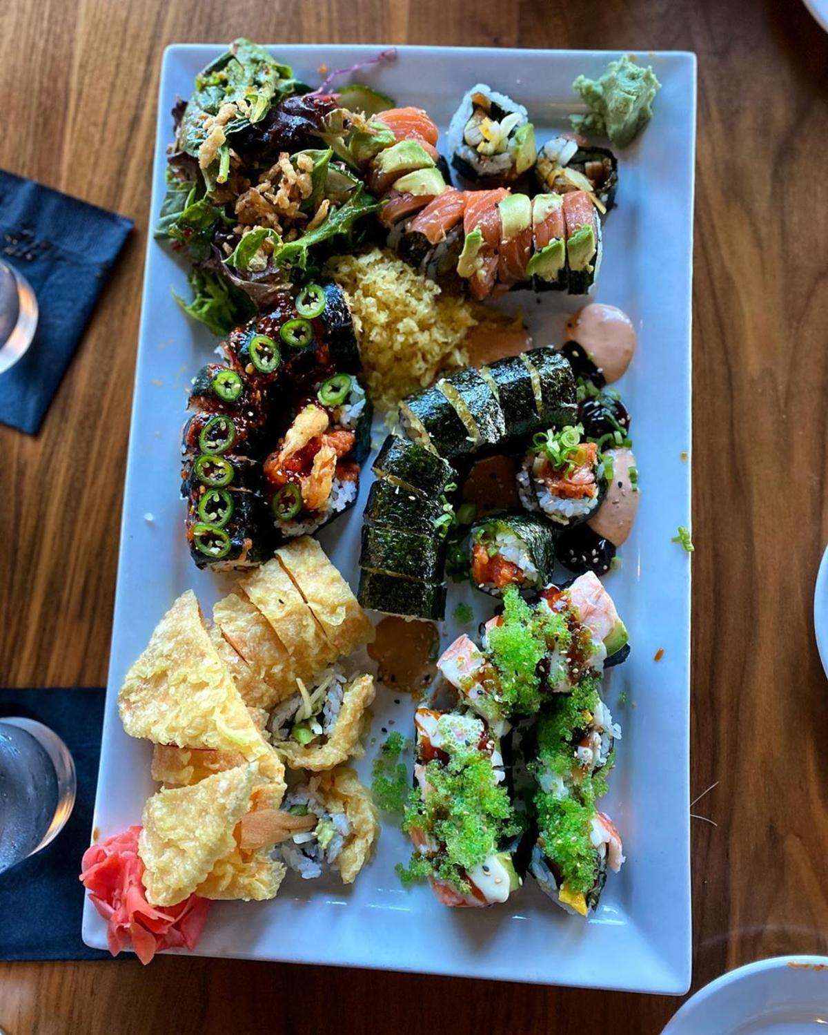 Beautiful sushi platter at Maru Sushi & Grill in Midland